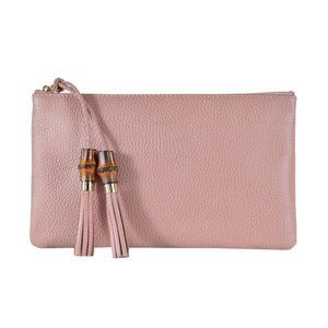 Gucci Zip Top Clutch Pouch with Bamboo Tassel Pull